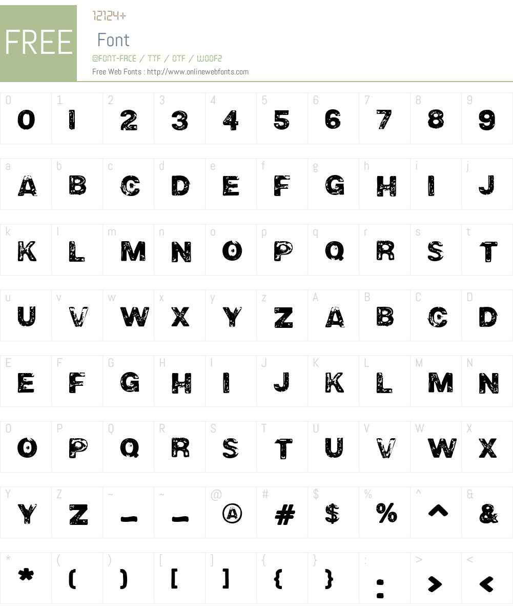 RoughneckExtremeW00-Rg Font Screenshots