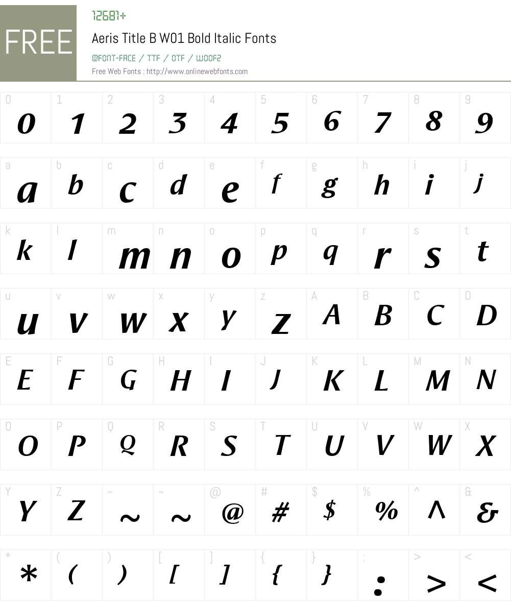AerisTitleBW01-BoldItalic Font Screenshots