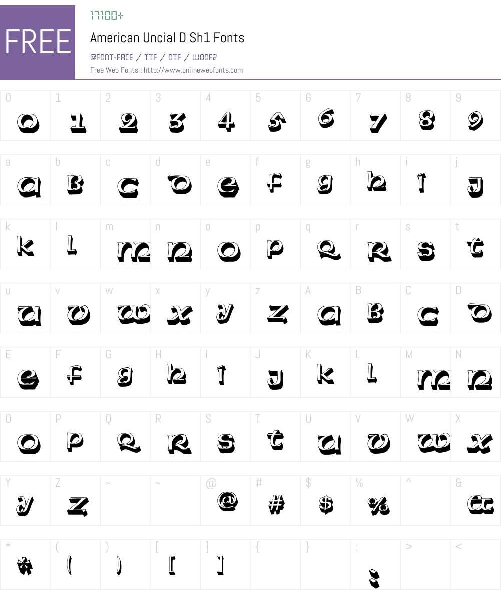 American Uncial D Sh1 Font Screenshots