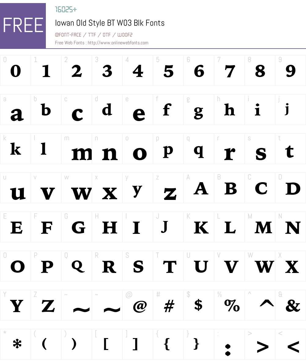 Iowan Old Style BT Font Screenshots