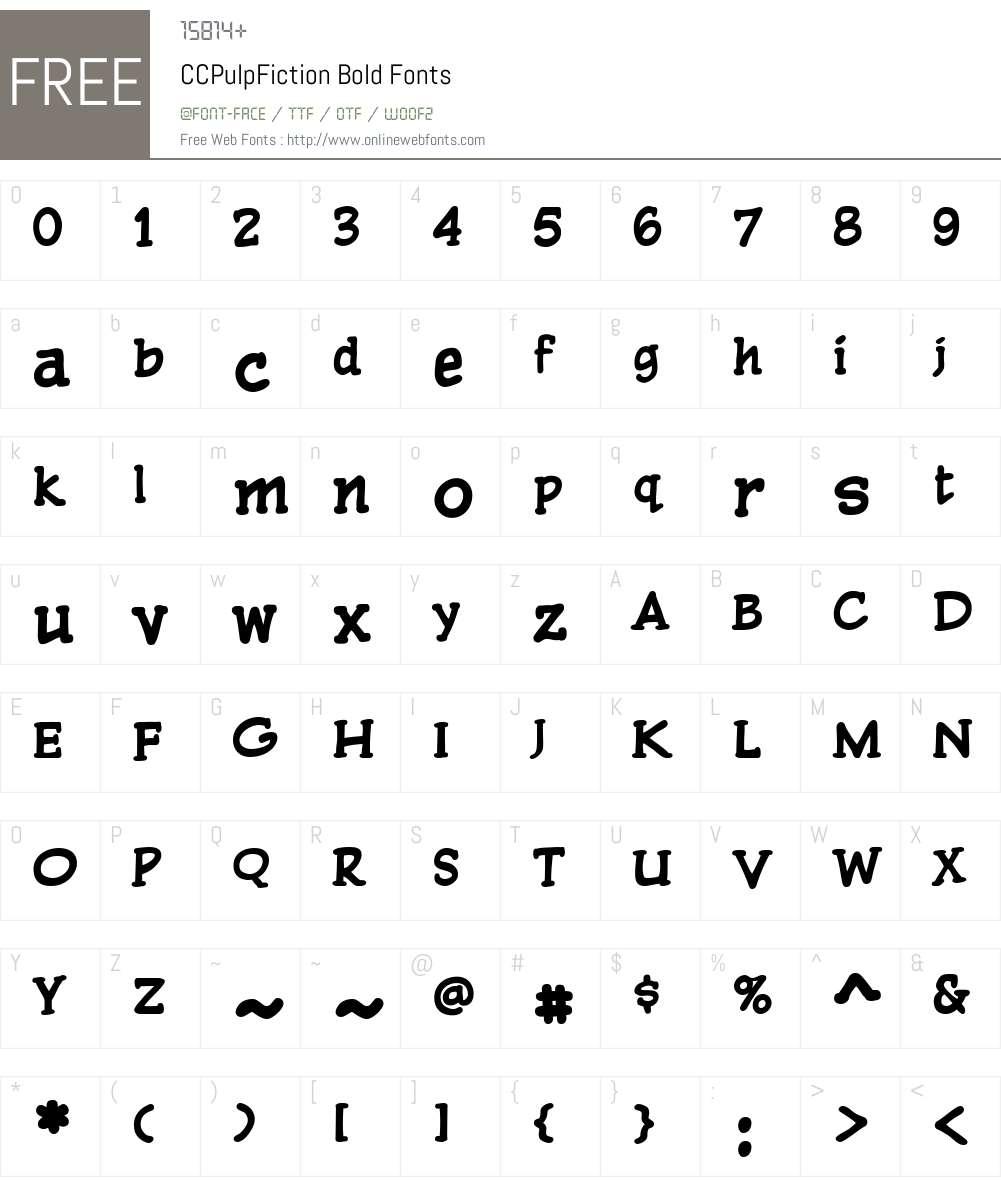 CCPulpFiction-Bold Font Screenshots