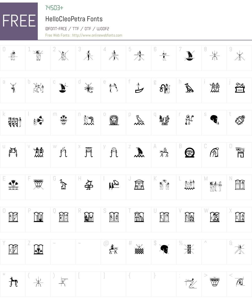 HelloCleoPetra Font Screenshots