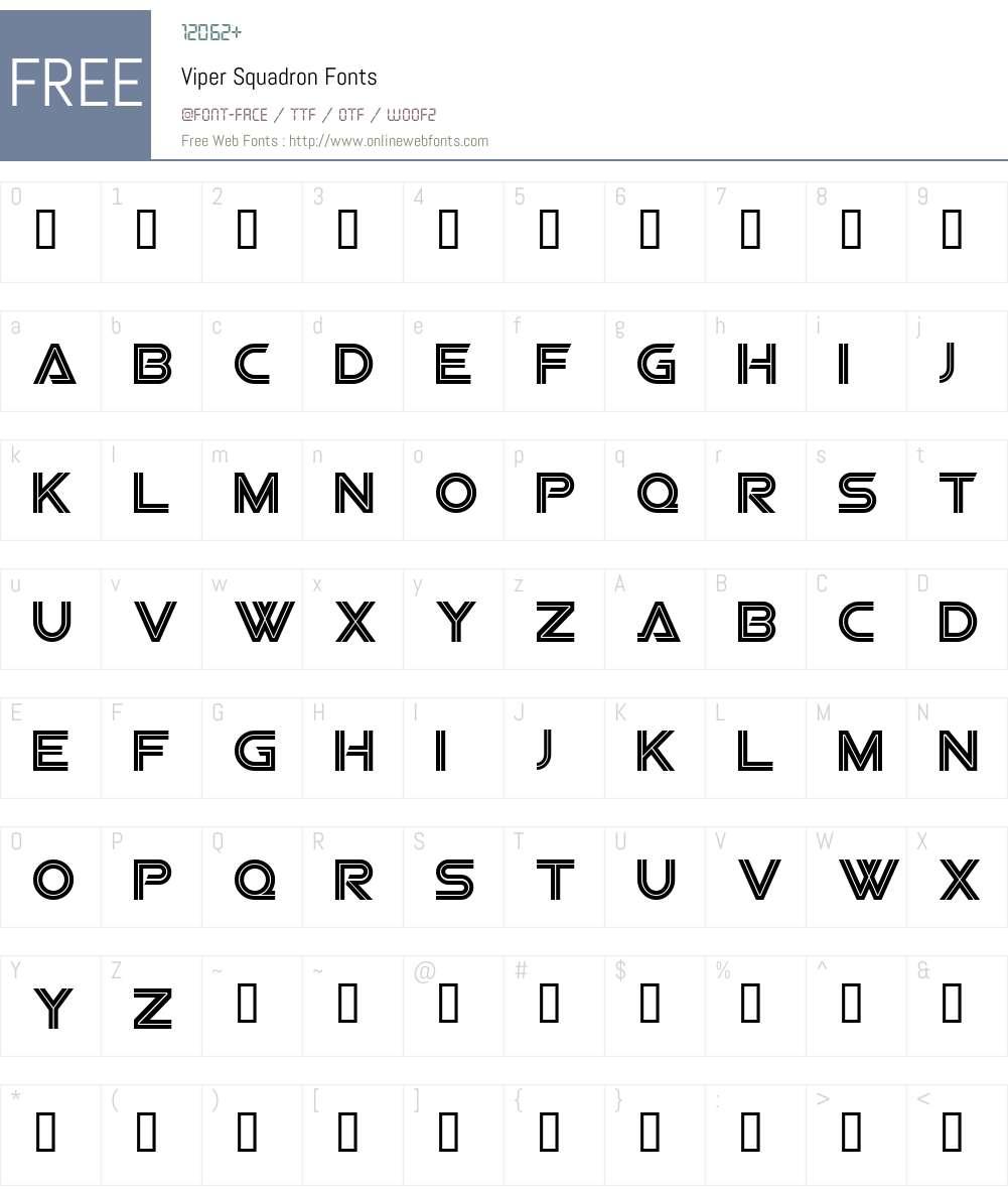 Viper Squadron Font Screenshots