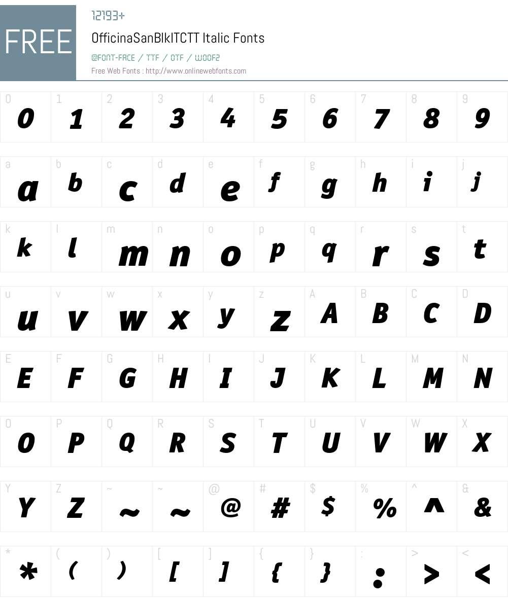 OfficinaSanBlkITCTTItalic Font Screenshots