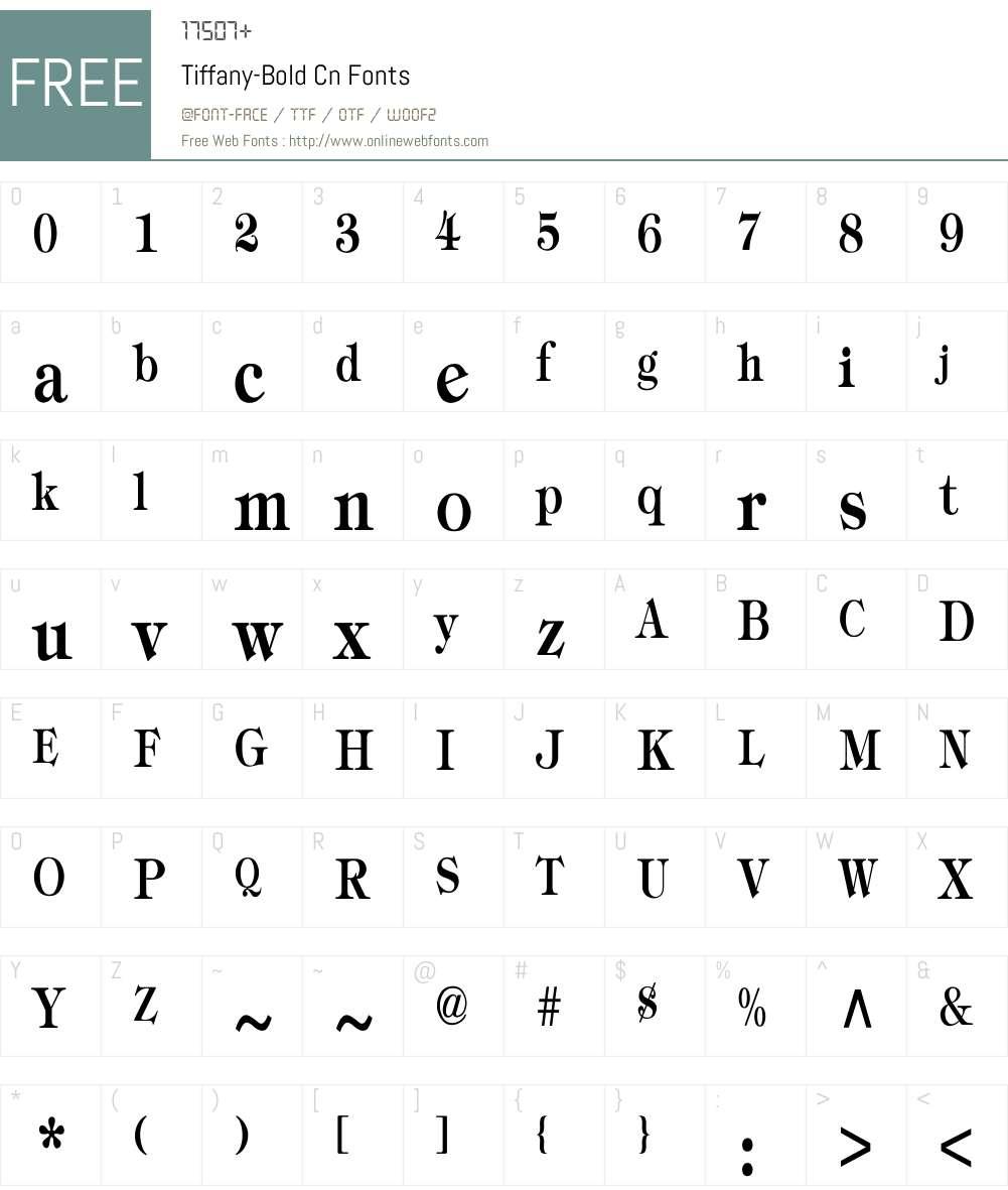 Tiffany-Bold Cn Font Screenshots