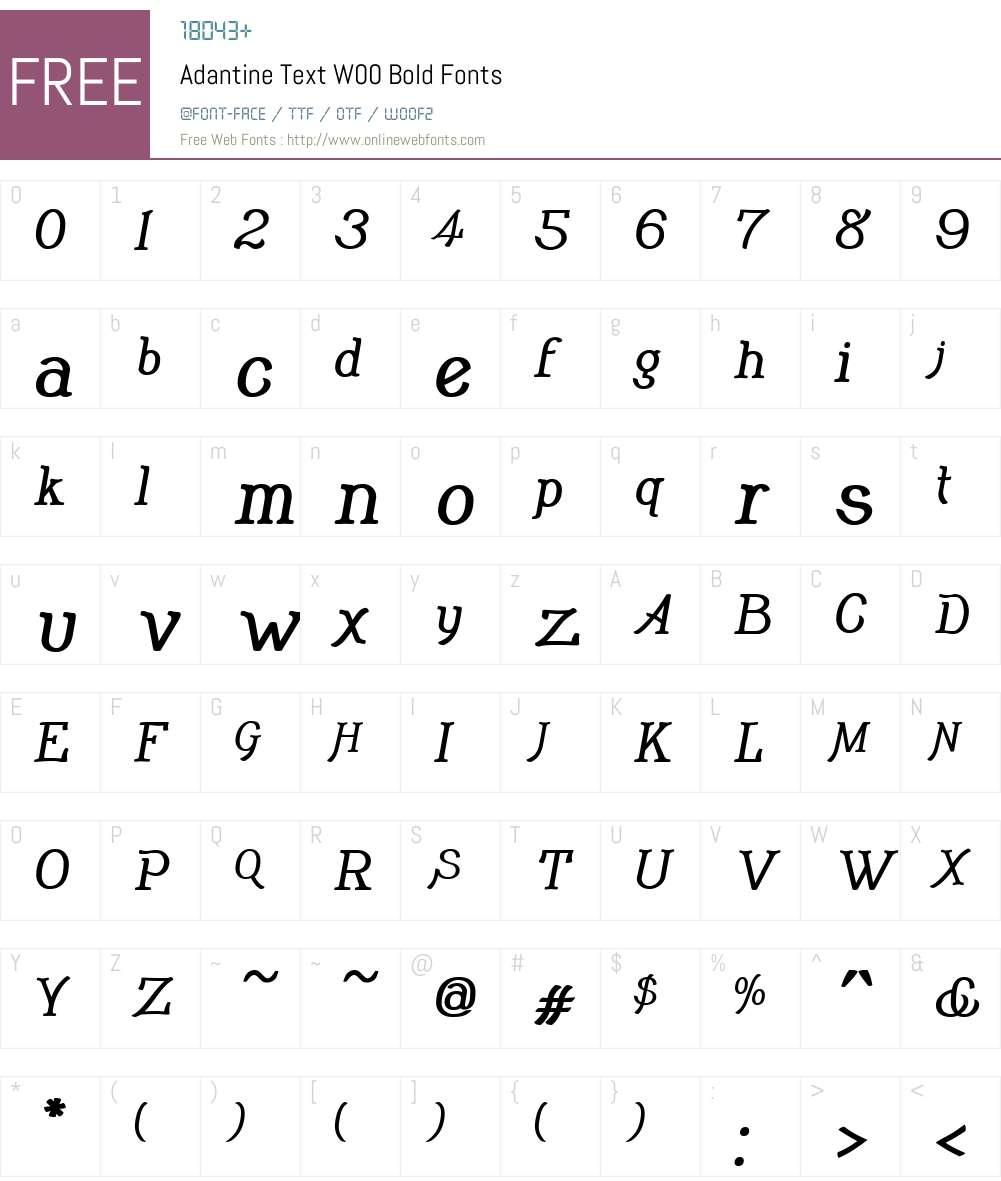 AdantineTextW00-Bold Font Screenshots