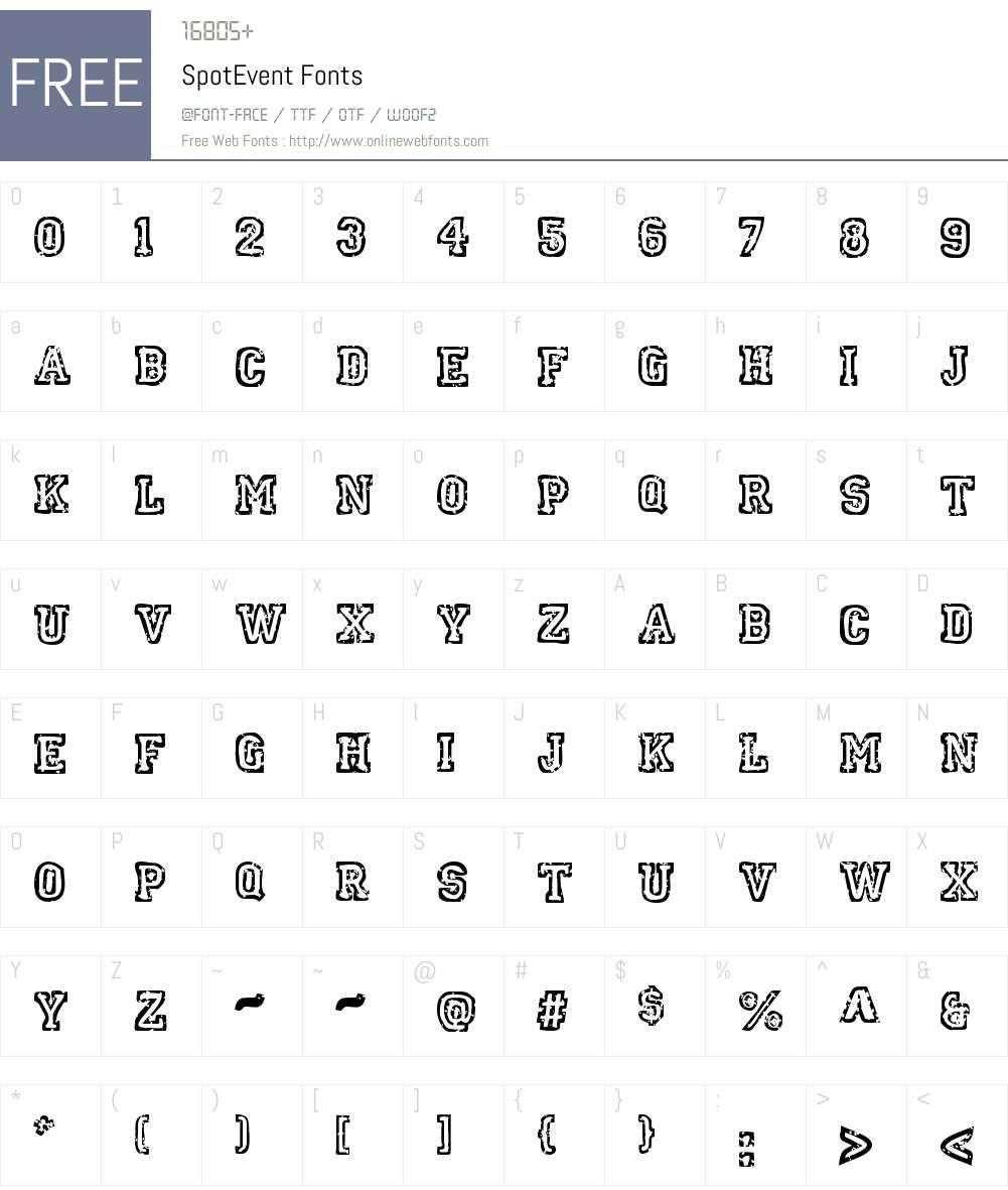 SpotEvent Font Screenshots
