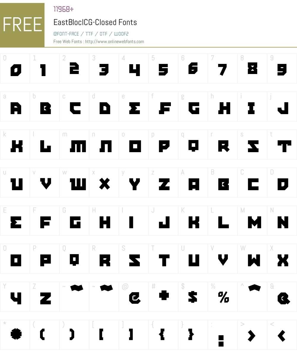 EastBlocICG Font Screenshots