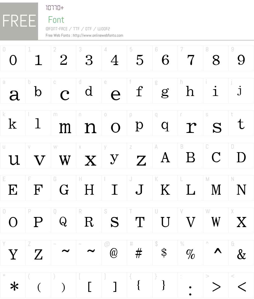 Roman Fixed-width Font Screenshots