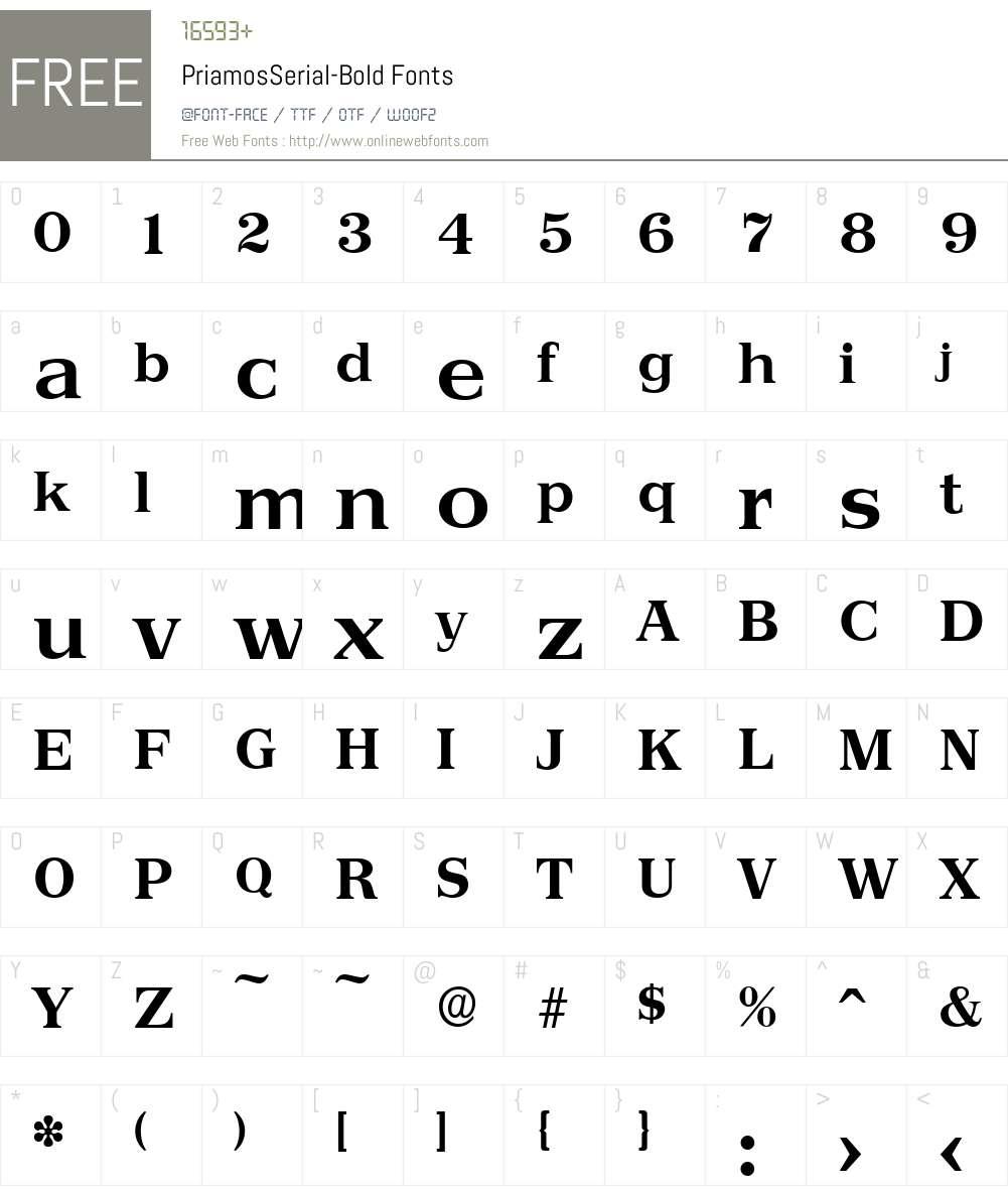 PriamosSerial Font Screenshots