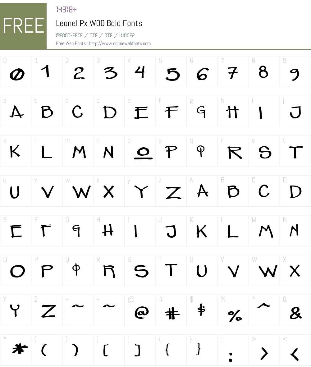 LeonelPxW00-Bold Font Screenshots