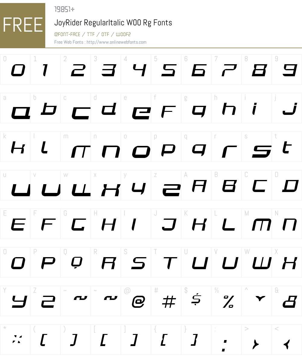 JoyRiderRegularItalicW00-Rg Font Screenshots