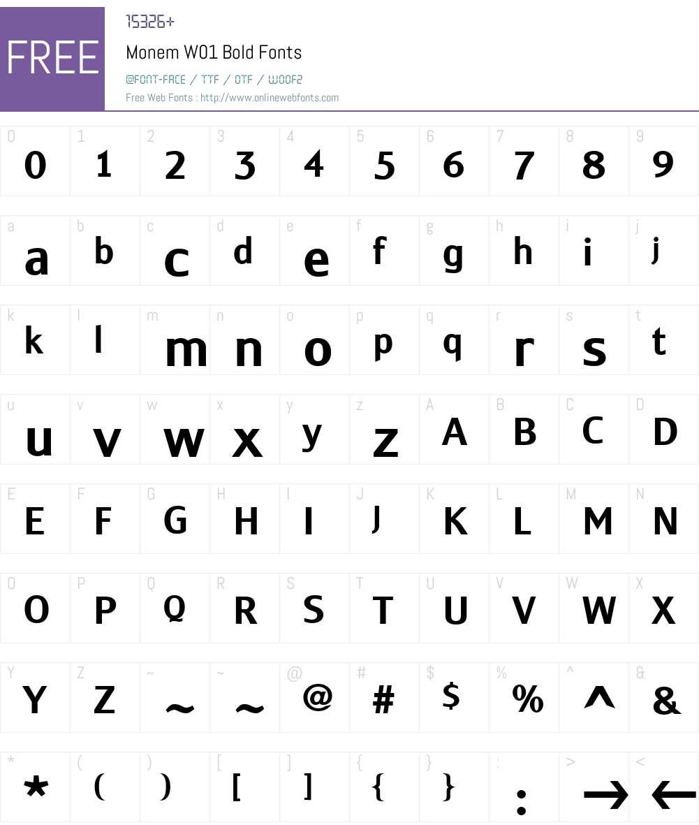 MonemW01-Bold Font Screenshots