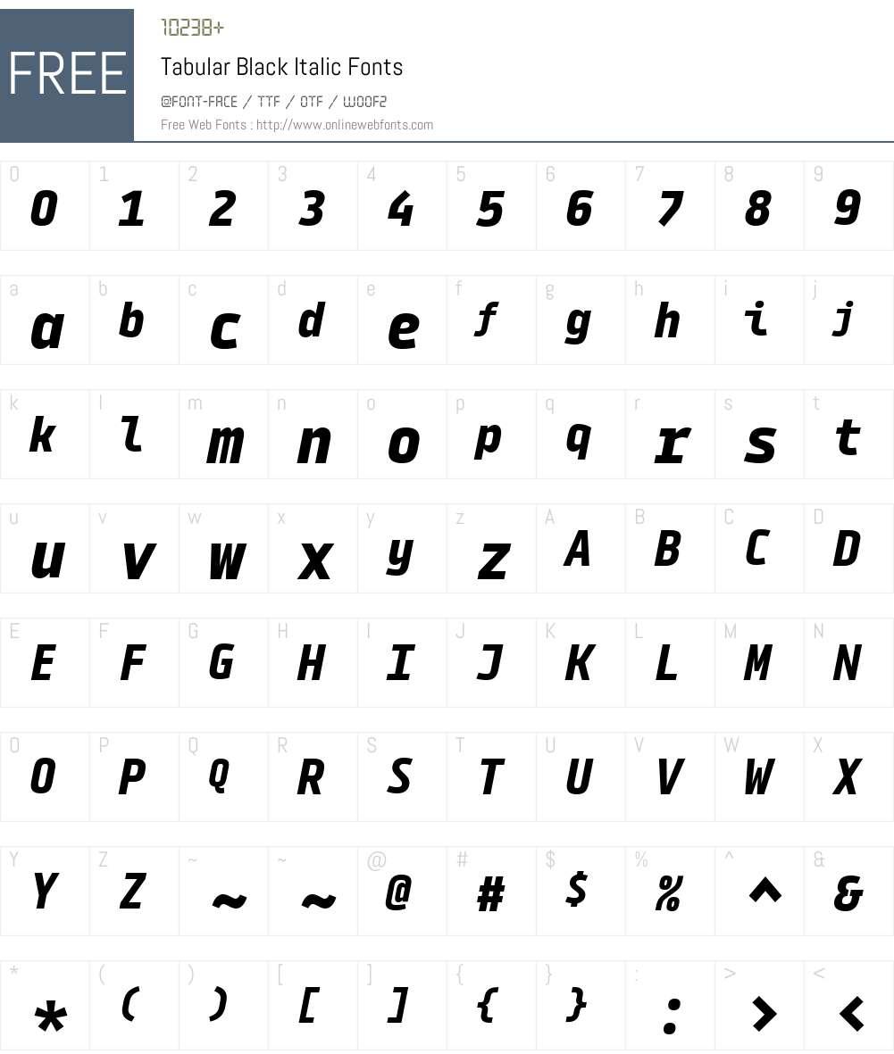 Tabular-BlackItalic Font Screenshots