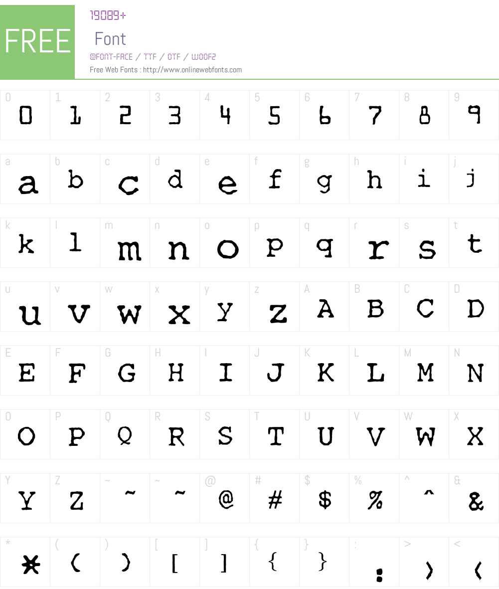 OPTITypewriter Font Screenshots