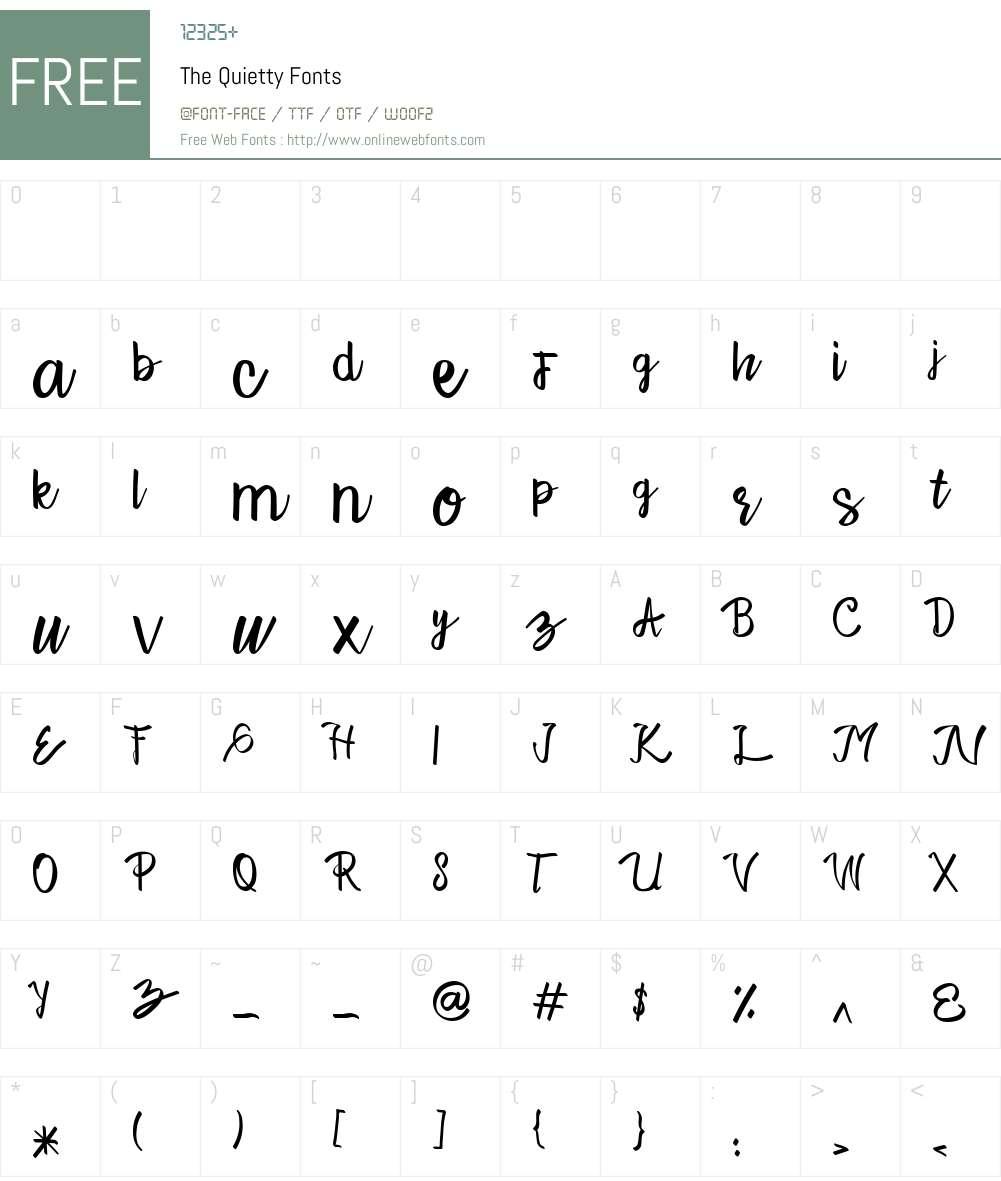 The Quietty Font Screenshots