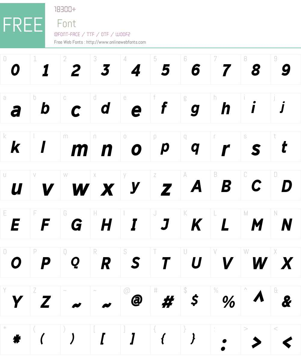 DylanW01-CondensedXBoldIt Font Screenshots