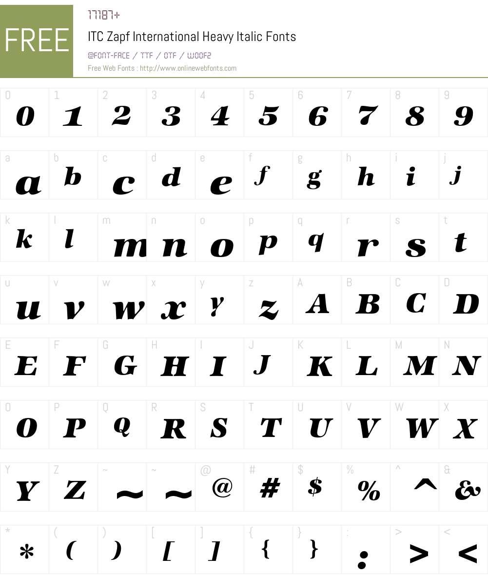 ITC Zapf International Font Screenshots