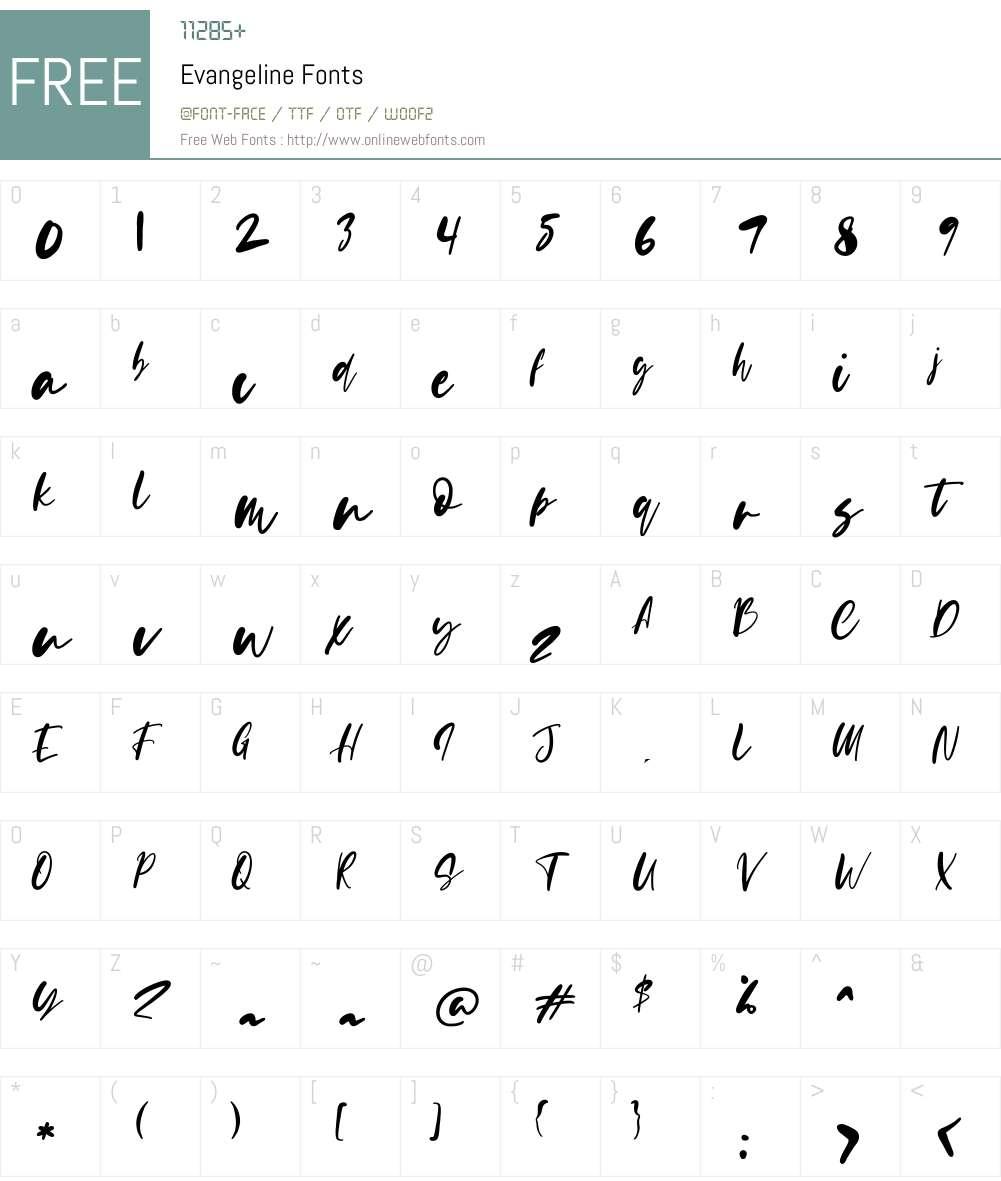Evangeline Font Screenshots