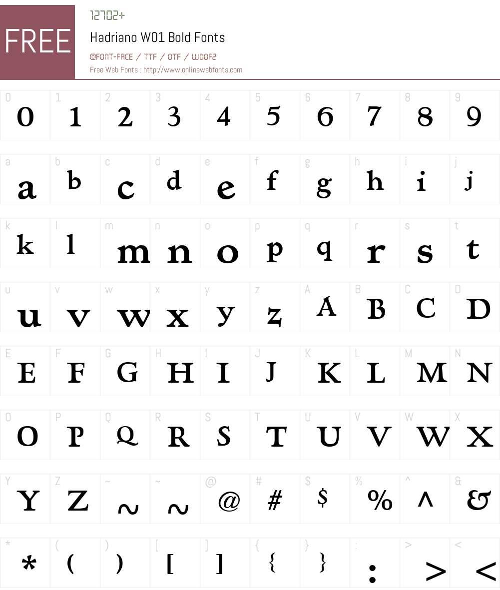HadrianoW01-Bold Font Screenshots