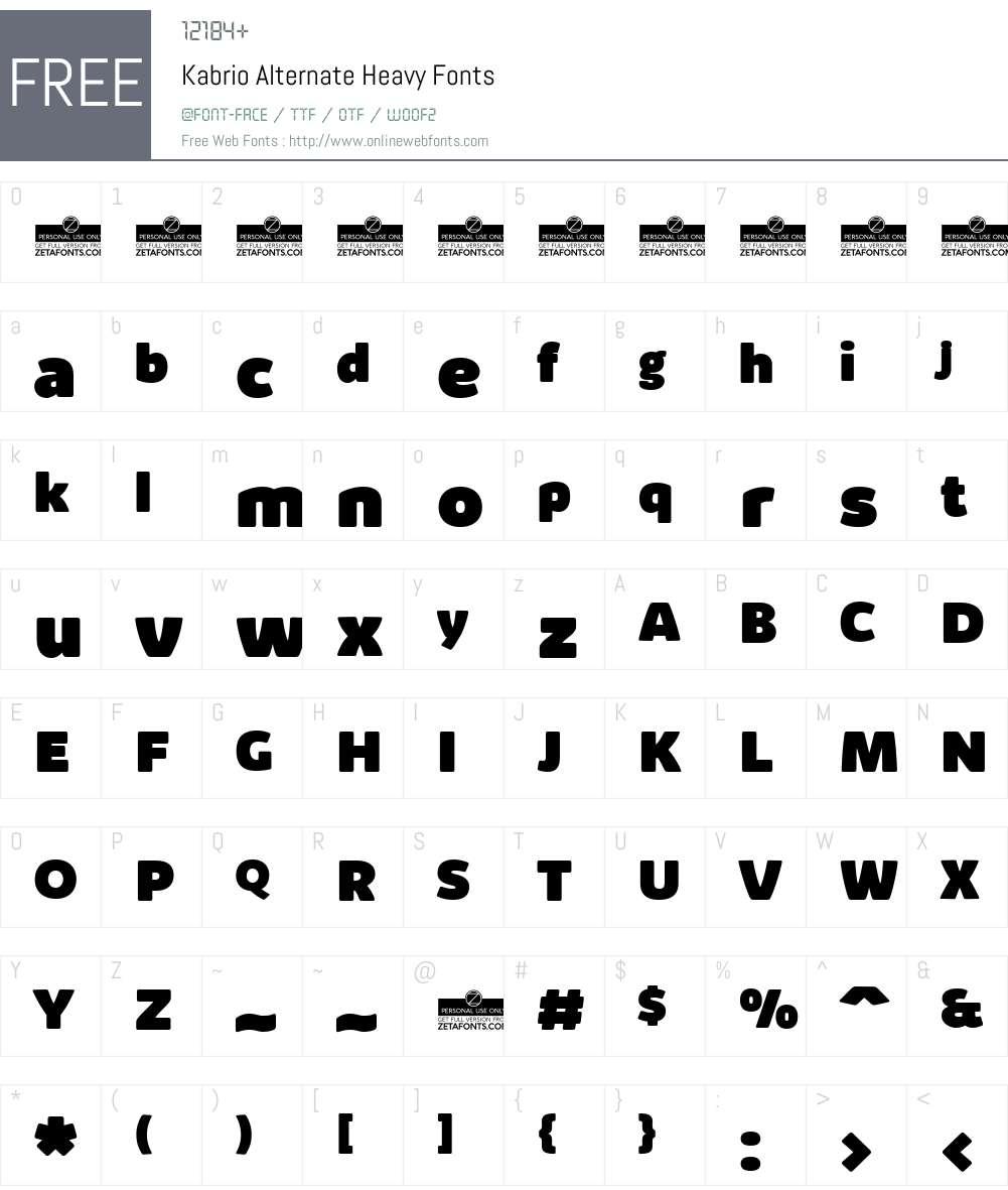 Kabrio Alternate Font Screenshots