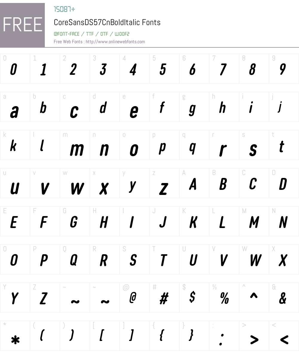 Core Sans DS 57 Cn Bold Font Screenshots