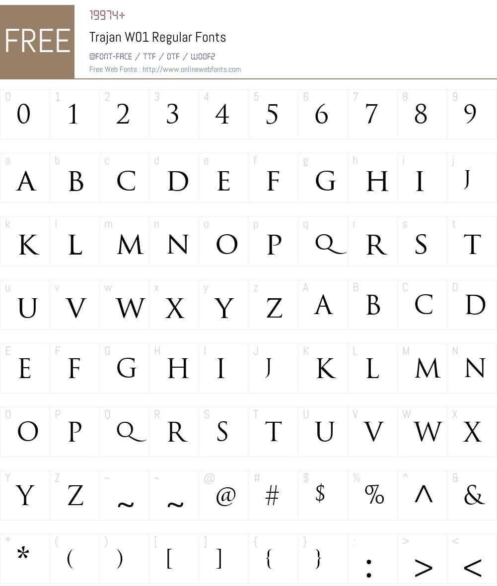 TrajanW01-Regular Font Screenshots