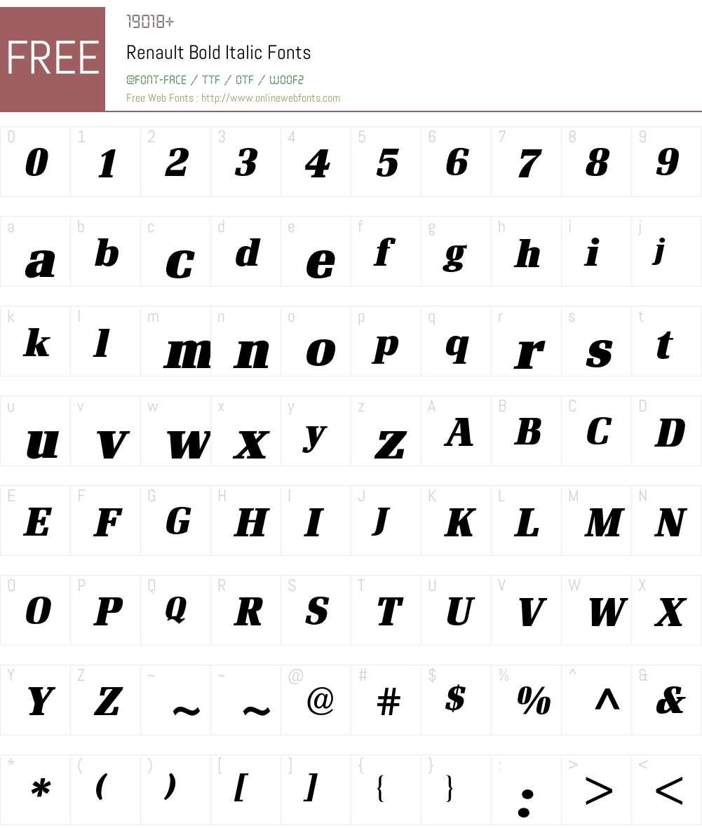 Renault BQ Font Screenshots