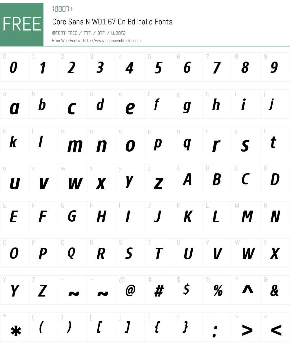 CoreSansNW01-67CnBdItalic Font Screenshots