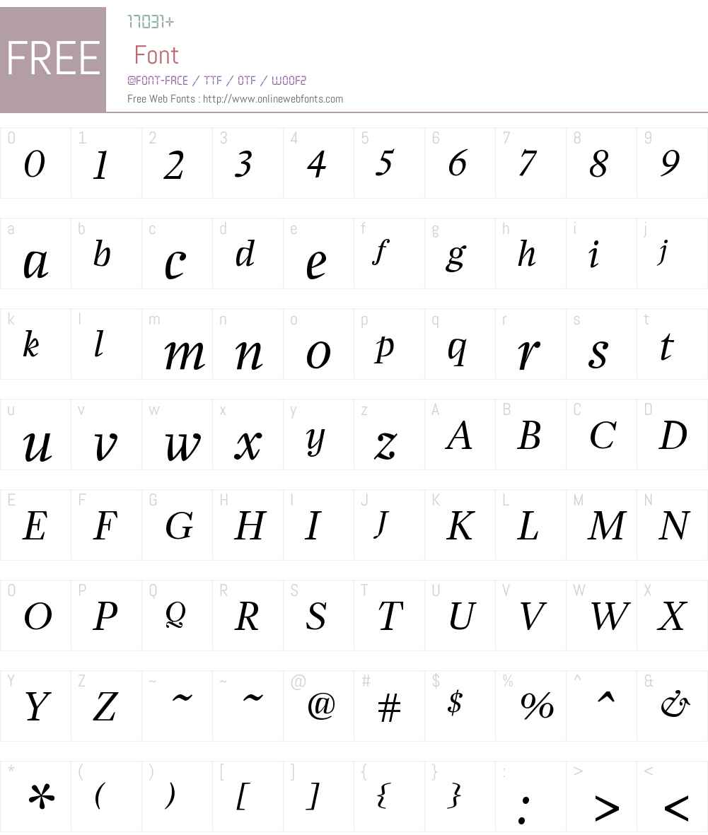 ZocaloDisplay RegularItalic Font Screenshots