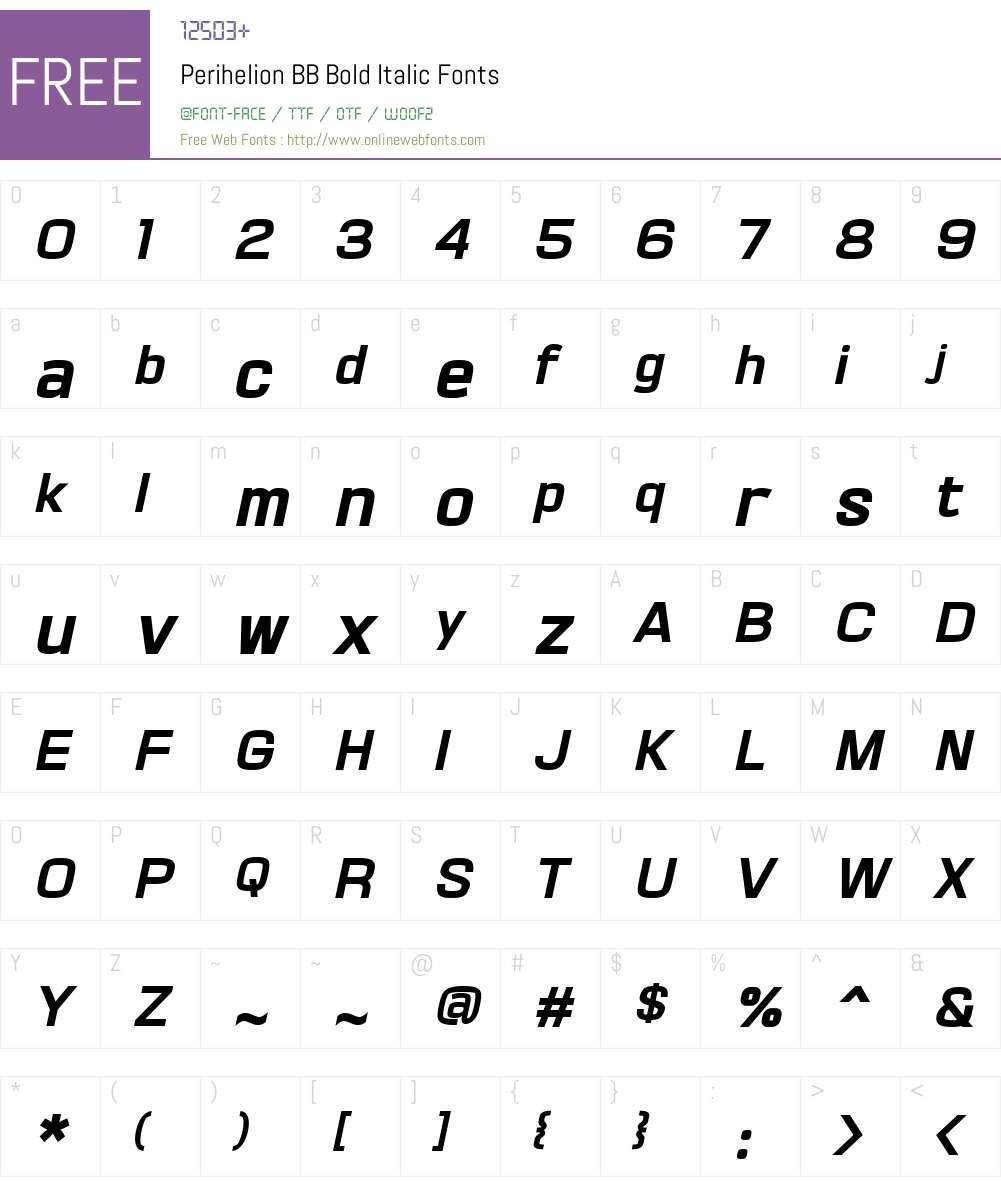 PerihelionBB-BoldItalic Font Screenshots