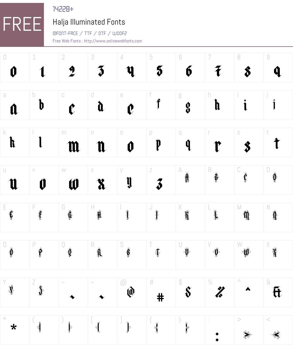 Halja-Illuminated Font Screenshots