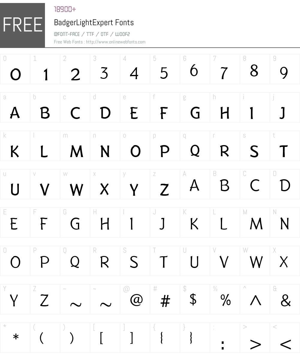 BadgerLightExpert Font Screenshots