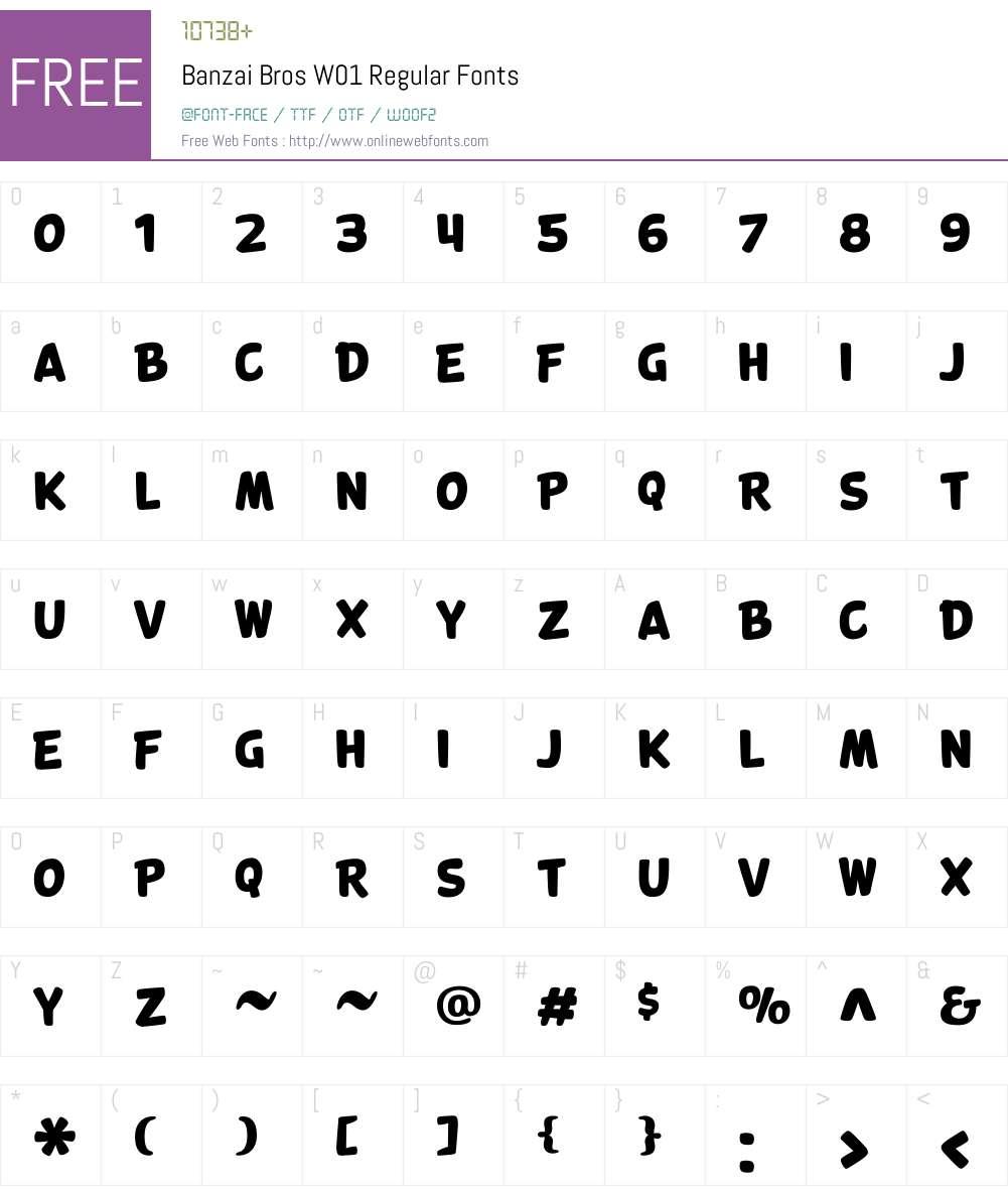 BanzaiBrosW01-Regular Font Screenshots