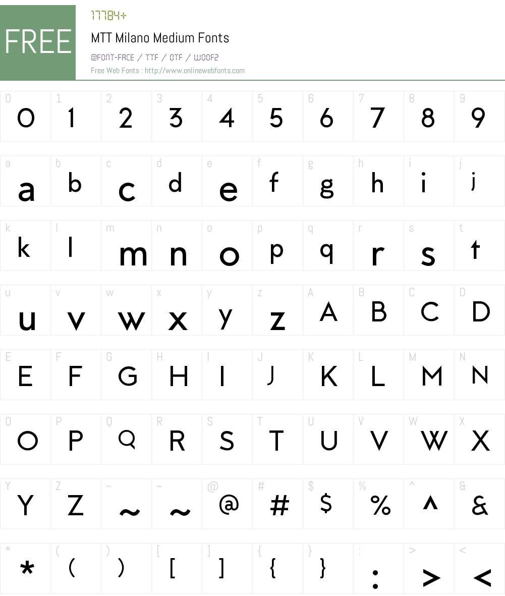 MTTMilano-Medium Font Screenshots