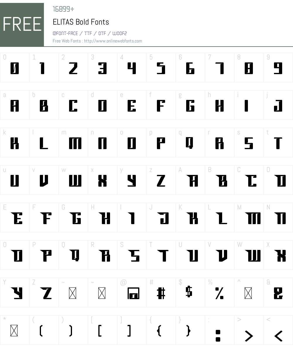 ELITAS Font Screenshots