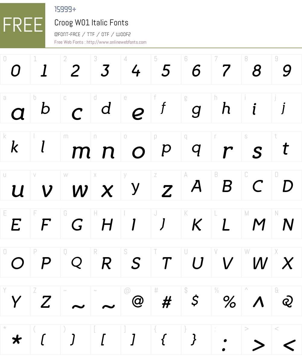 CroogW01-Italic Font Screenshots
