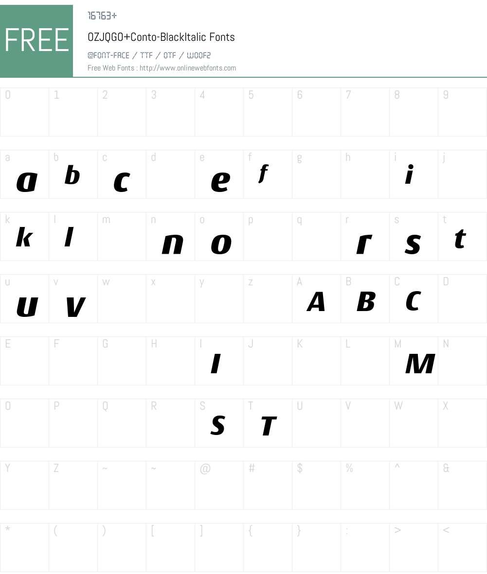 OZJQGO+Conto-BlackItalic Font Screenshots