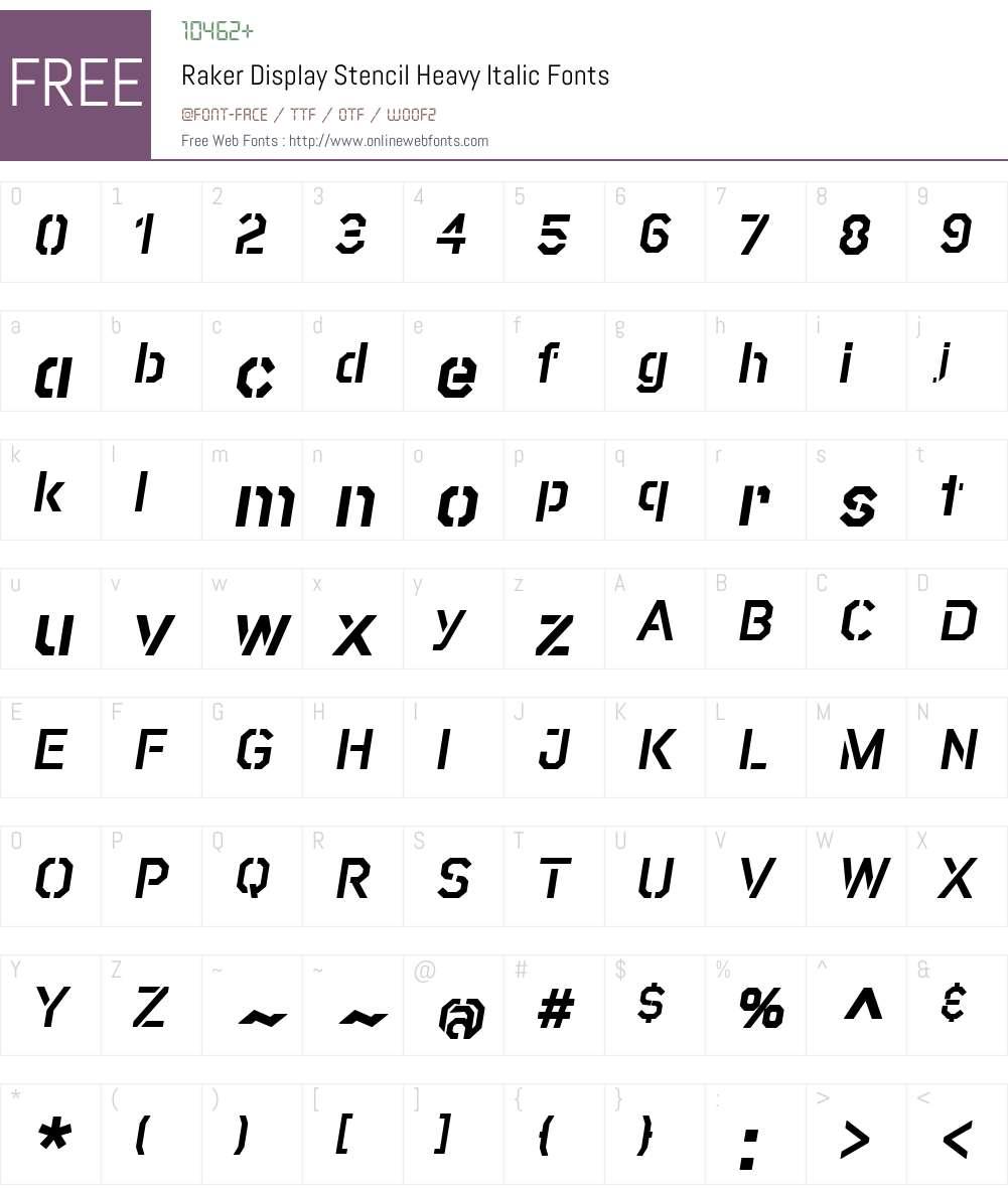 RakerDisplayStencil-HeavyItalic Font Screenshots