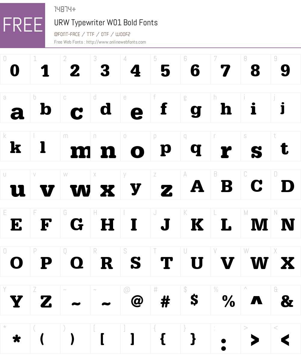 URWTypewriterW01-Bold Font Screenshots