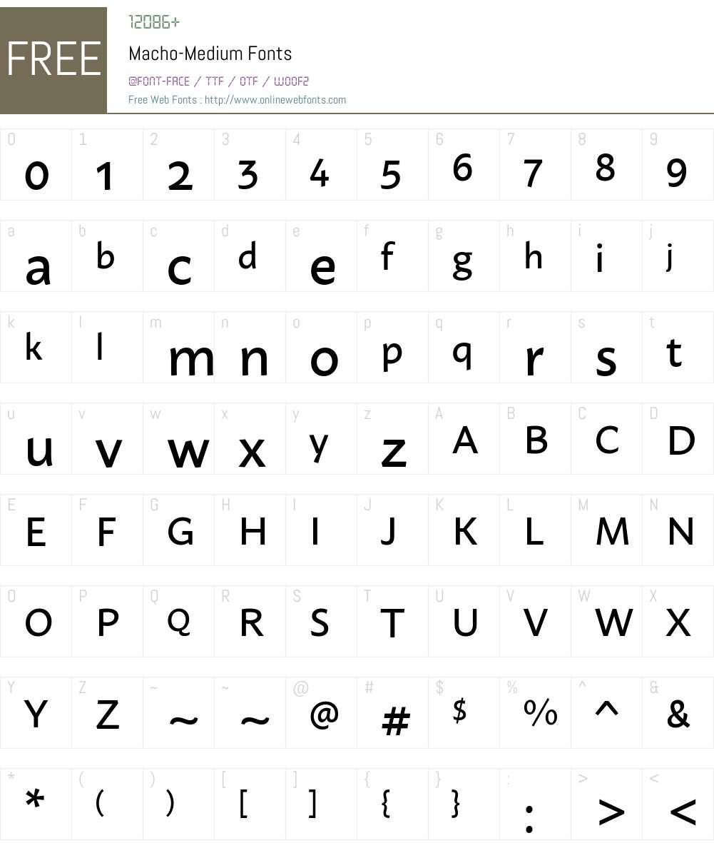 Macho Medium Font Screenshots