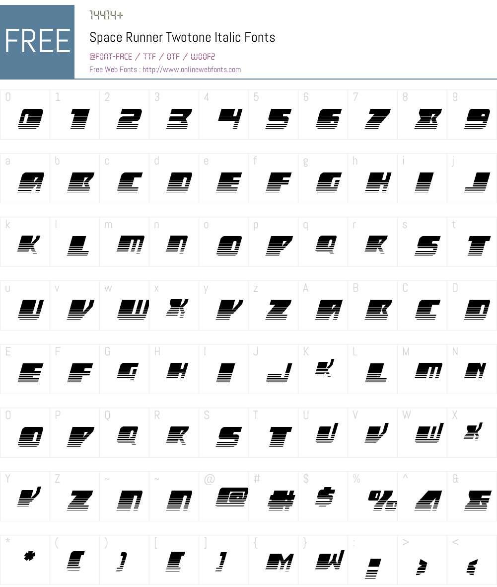 Space Runner Twotone Italic Font Screenshots