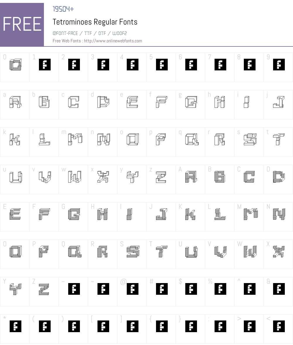 Tetrominoes Font Screenshots