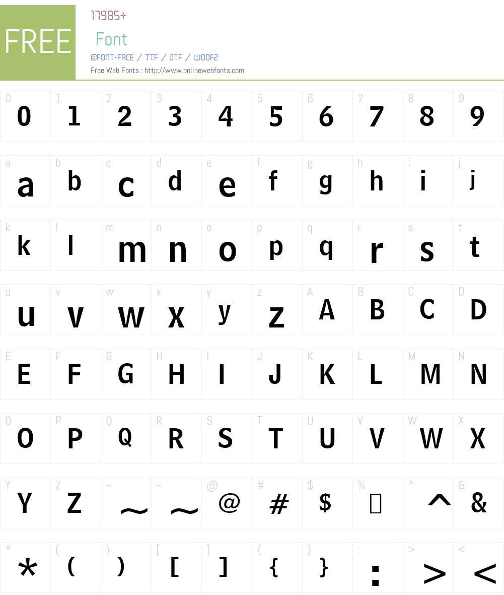 BellCent NamNum BT Font Screenshots