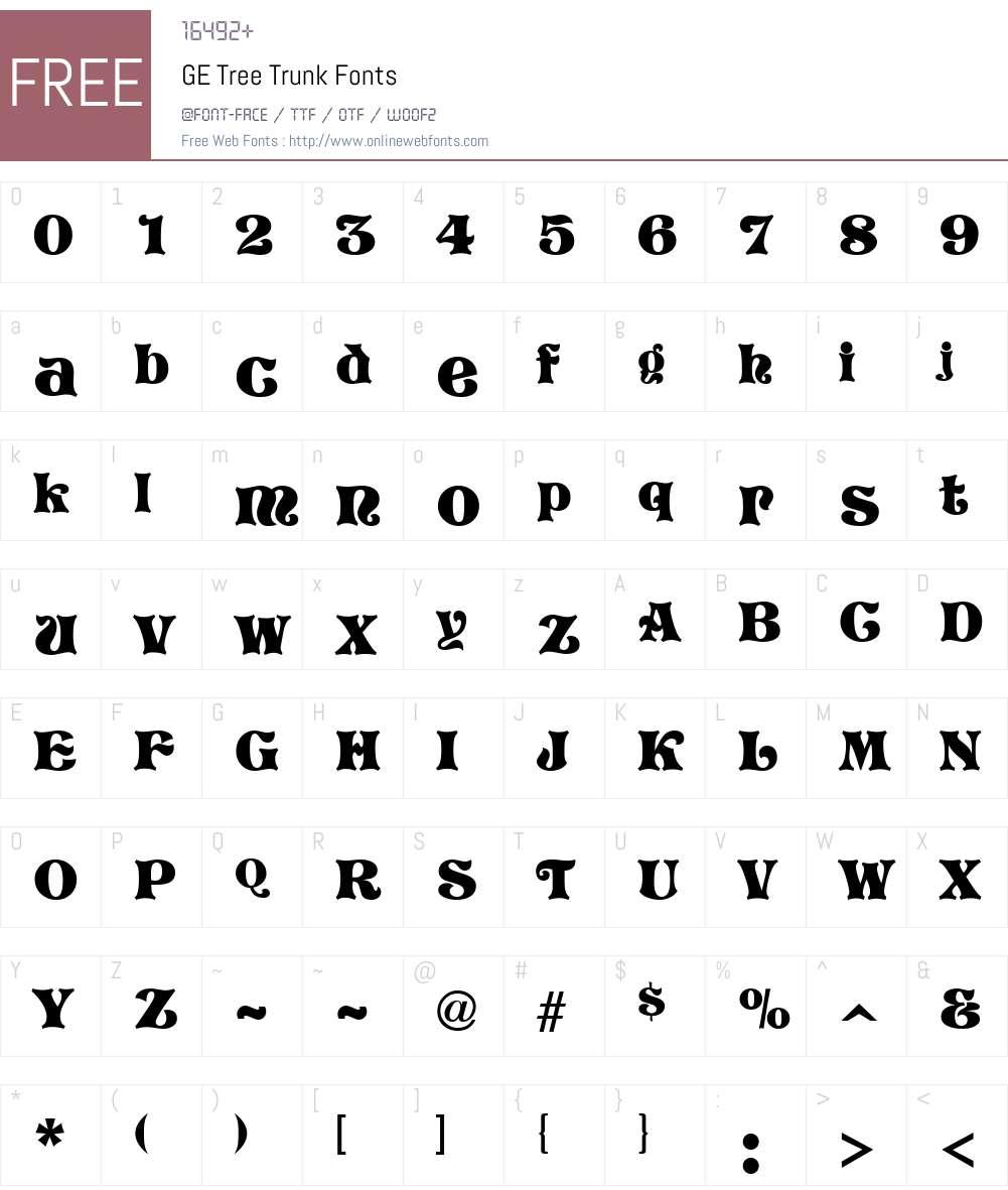 GE Tree Trunk Font Screenshots