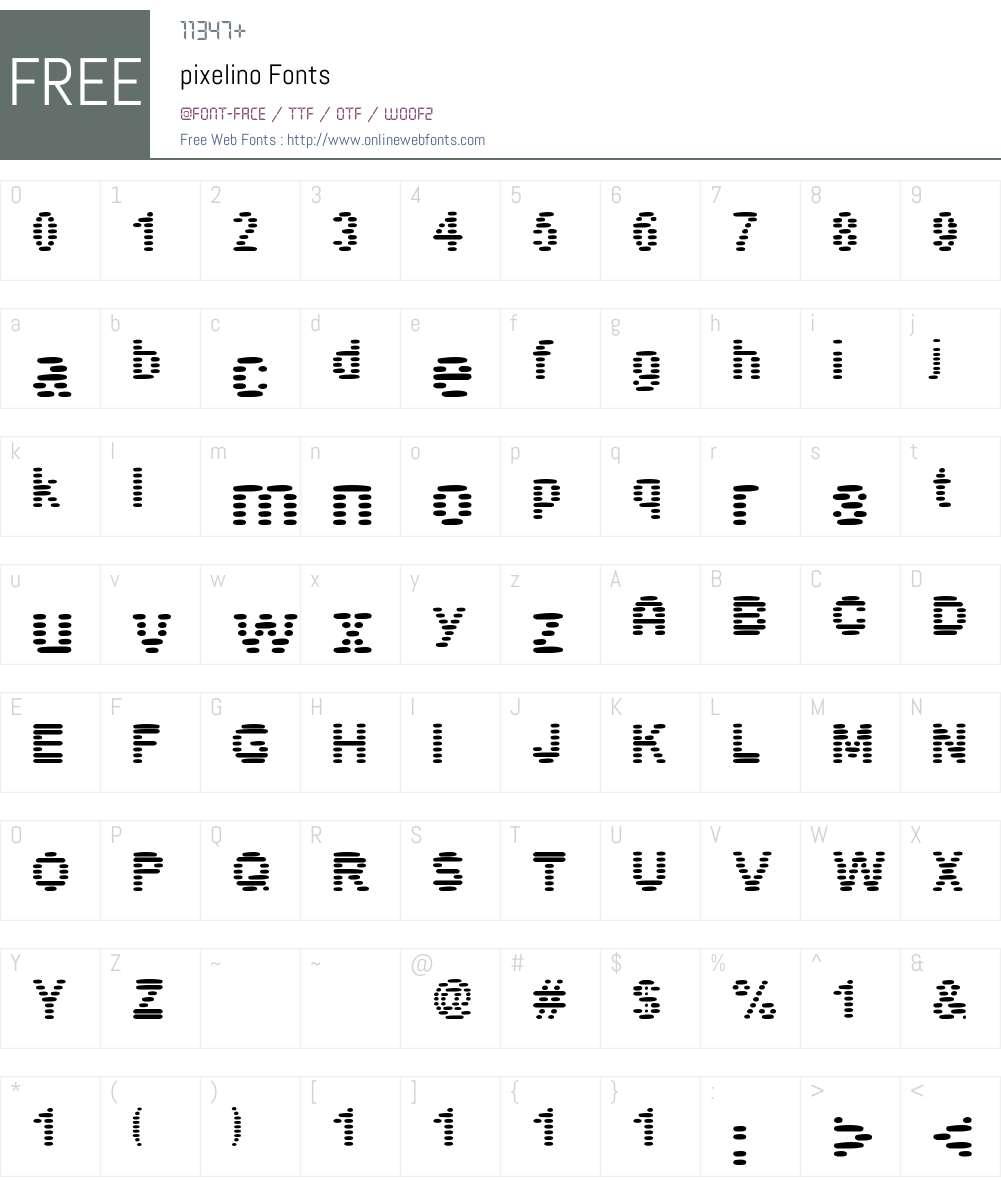 pixelino Font Screenshots