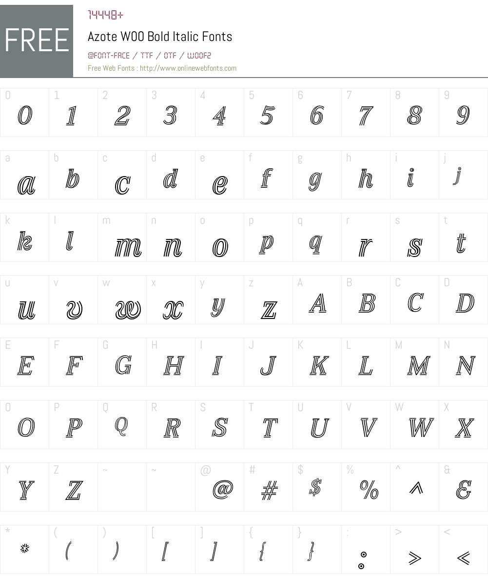 AzoteW00-BoldItalic Font Screenshots