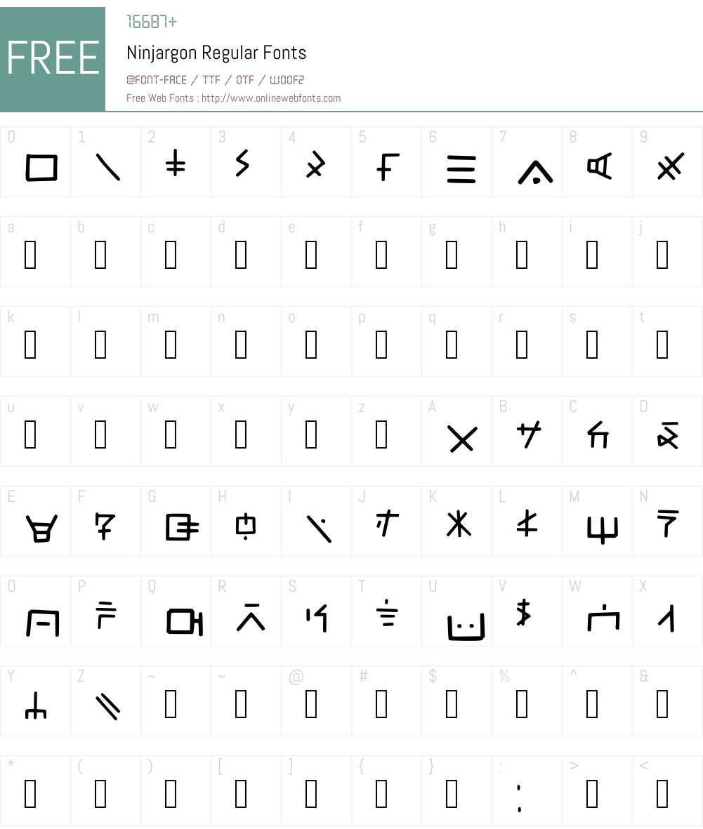 Ninjargon Font Screenshots