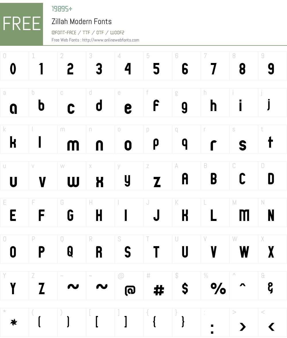 Zillah Modern Font Screenshots