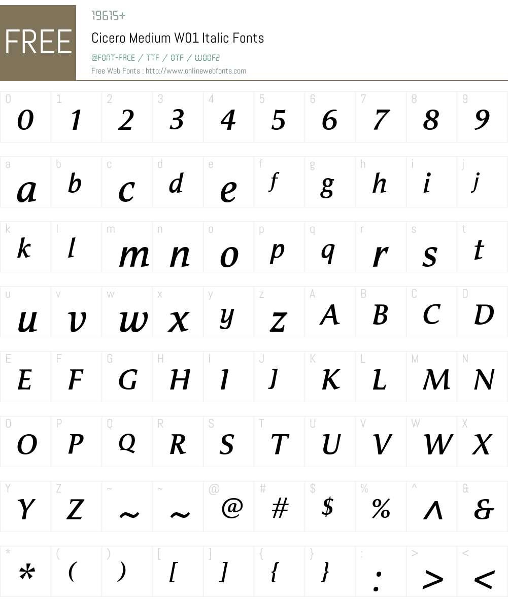 Cicero Font Screenshots